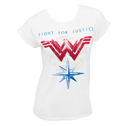 WONDER WOMAN Rolled Sleeve White Ladies Fight For Justice Tee Shirt