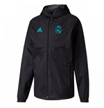 2017-2018 Real Madrid Adidas Training Rain Jacket (Black)