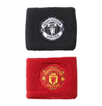 2017-2018 Man Utd Adidas Wristbands (Black-Red)