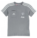 2017-2018 Man Utd Adidas Training Tee (Grey) - Kids
