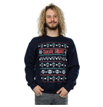 Suicide Squad Men's Joker and Harley Quinn Christmas Sweatshirt Navy Blue