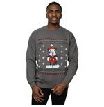 Disney Men's Mickey Mouse Scarf Christmas Sweatshirt Charcoal