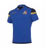 2017-2018 Italy Macron Rugby Official Cotton Polo Shirt (Blue)