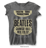 The Beatles Ladies Fashion Tee: Carnegie Hall with Burn Out Finishing