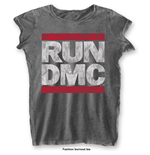 Run DMC Ladies Fashion Tee: DMC Logo with Burn Out Finishing