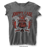 Johnny Cash Ladies Fashion Tee: Ring of Fire with Burn Out Finishing