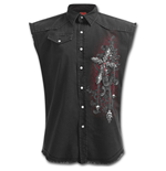 Cross Of Darkness - Sleeveless Stone Washed Worker Black