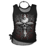 Cross Of Darkness - 2in1 Neck Tie Mesh Top Black