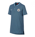 2017-2018 Man City Nike Authentic Grand Slam Polo Shirt (Field Blue) - Kids