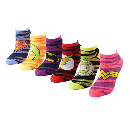 DC Comics Women's 6 Pack Striped Socks