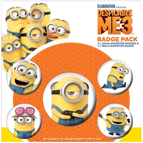 Despicable Me 3 Button Badge Set Minions