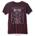AC/DC Men's Fashion Tee: Cannon Swig with Burn Out Finishing