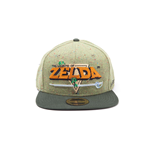 NINTENDO Legend of Zelda 8-bit Logo Snapback Baseball Cap, One Size, Green/Grey