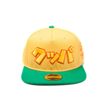 NINTENDO Super Mario Bros. Japanese Bowser Logo Snapback Baseball Cap, One Size, Green/Yellow