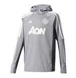 2017-2018 Man Utd Adidas Warm Up Top (Grey) - Kids