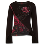 Rose Slant - Blood Rose Sash Wrap Goth Sleeve Top
