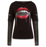 Fangs - Mesh Sleeve Zip Shoulder Long Sleeve Ladies