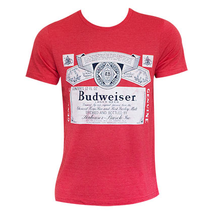 BUDWEISER Heather Red Beer Logo Tee Shirt
