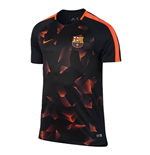 2017-2018 Barcelona Nike Pre-Match Dry Training Shirt (Black-Crimson)