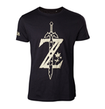 NINTENDO Legend of Zelda Men's Big Z Logo with Sword T-Shirt, Large, Black