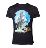 NINTENDO Legend of Zelda Breath of the Wild Men's Link on his Horse T-Shirt, Medium, Black