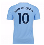 2017-18 Man City Home Shirt (Kun Aguero 10)