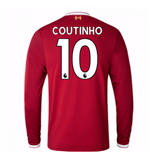 2017-18 Liverpool Home Long Sleeve Shirt (Kids) (Coutinho 10)