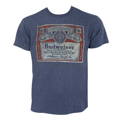 BUDWEISER Distressed Bottle Label Heather Blue Tee Shirt