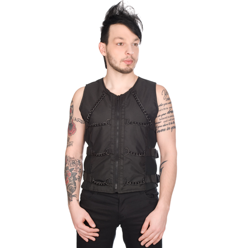 Black Pistol Chain Vest Denim