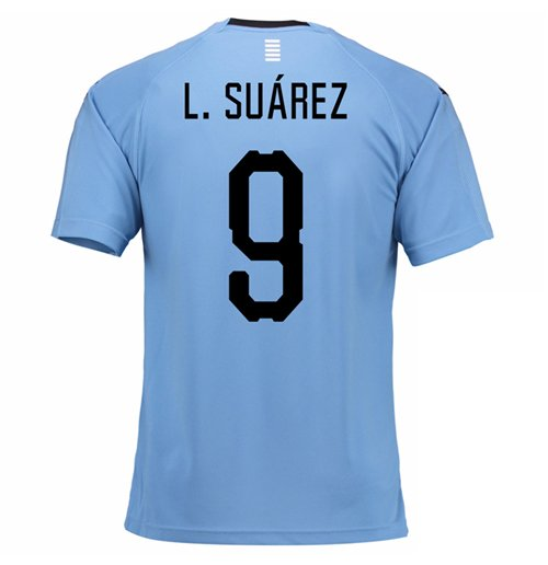 2018-2019 Uruguay Home Football Shirt (L. Suarez 9)