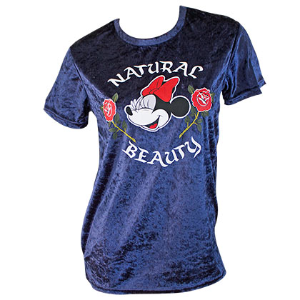 Minnie Mouse Blue Velour Natural Beauty Ladies Tee Shirt