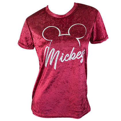 Mickey Mouse Red Velour Ladies Tee Shirt