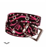 Pink zebra-stripe fur belt