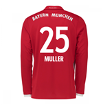 2016-17 Bayern Munich Long Sleeve Home Shirt (Muller 25)