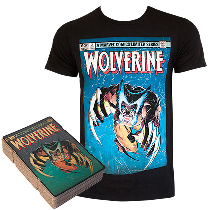 WOLVERINE Comic Cover Boxed Black Tee Shirt