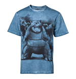 POKEMON Men's Blastoise Oil Washed T-Shirt, Medium, Blue