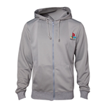 SONY Playstation Men's PS One Full Length Zipper Hoodie, Small, Grey