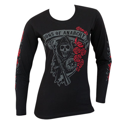 SONS OF ANARCHY Reaper Rose Logo Long Sleeve Ladies Black Shirt