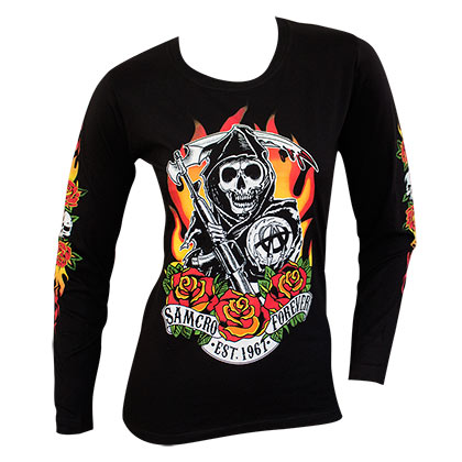 SONS OF ANARCHY Reaper Flames Logo Long Sleeve Ladies Black Shirt