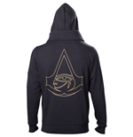 ASSASSIN'S CREED Origins Men's Gold Crest Logo Double Layered Full Length Zipper Hoodie, Small, Black
