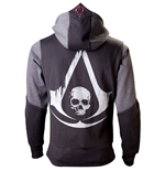 ASSASSIN'S CREED Black Flag Men's Full Length Zipper Hoodie, Large, Black/Grey