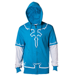 NINTENDO Legend of Zelda Breath of the Wild Men's Link Full Length Zipper Hoodie, Large, Blue/White