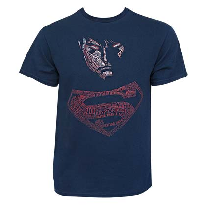SUPERMAN Posterized Typography Navy Blue Tee Shirt