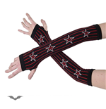 Arm warmers - black, red lengthwise stri