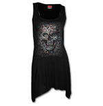 Skull Illusion - Goth Bottom Camisole Dress Black