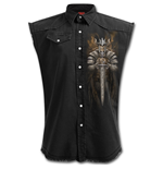 Viking Warrior - Sleeveless Stone Washed Worker Black
