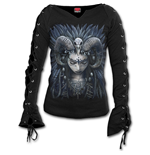 Raven Queen - Laceup Sleeve Top Black