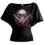 Death Pistol - Boat Neck Bat Sleeve Top Black