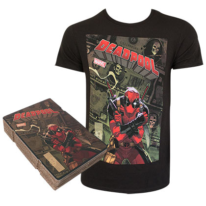 DEADPOOL Corrugated Boxed Black Tee Shirt