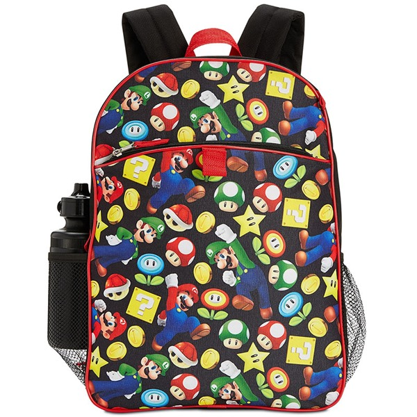 buy official super mario bros 5 piece backpack lunch kit. Black Bedroom Furniture Sets. Home Design Ideas